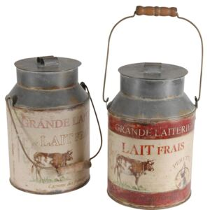 Set 2 recipiente decorative Milk Jar Antic Line