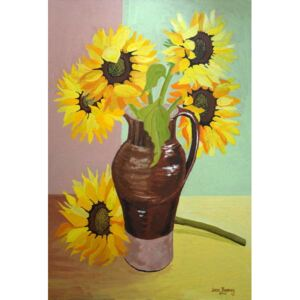 Five Sunflowers in a Tall Brown Jug,2007 Reproducere, Joan Thewsey