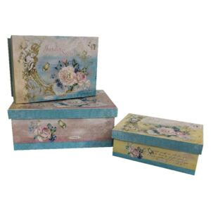 Set 3 cutii Antic Line Blue Vintage