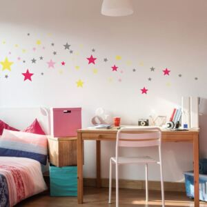 Set 50 autocolante Ambiance Stars Pink and Yellow
