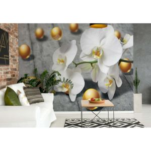 GLIX Fototapet - Abstract 3D Design Yellow Balls Orchids Vliesová tapeta - 206x275 cm