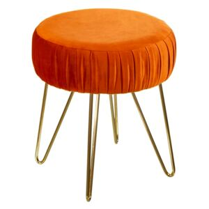 Puf decorativ din catifea orange Stool Velvet Orange Fabric