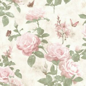 Tapet vinil Rasch Best Of 215007, roz+alb+verde, model floral, 10 x 0.53 m