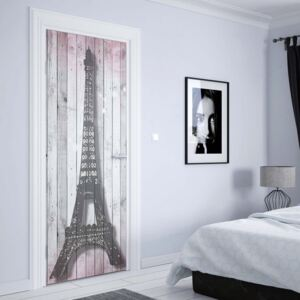 GLIX Tapet netesute pe usă - Eiffel Tower Paris Pink Roses Flowers Vintage Wood Planks