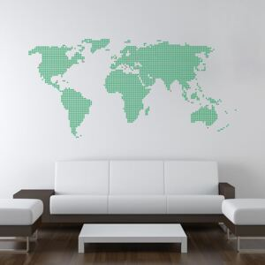 GLIX World map from dots - autocolant de perete Verde deschis 200 x 100 cm