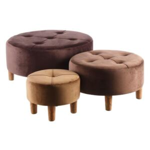 Set 3 banchete din catifea maro Bench Velvet Brown
