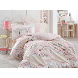 Lenjerie pat 1 persoană bumbac 100% poplin, Hobby Home, Sonia - Pink