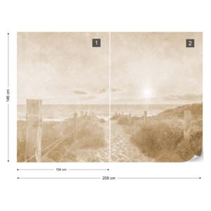 Fototapet - Summer Sunset Faded Vintage Sepia Tapet nețesute - 208x146 cm