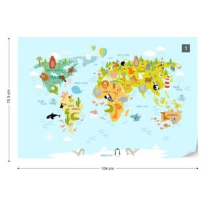 GLIX Fototapet - Animals of the World Map Tapet nețesute - 104x70,5 cm
