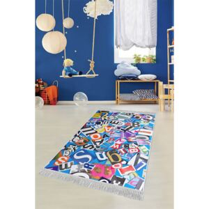 COVOR ANTIDERAPANT, DREPTUNGHIULAR,120X180, KIDS, LETTERS 1, MULTICOLOR, POLIESTER