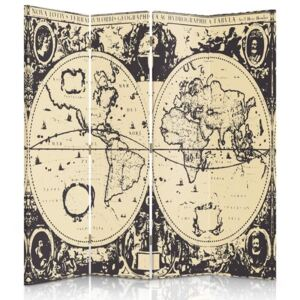 CARO Paravan - Vintage World Map | cvadripartit | unilateral 145x150 cm