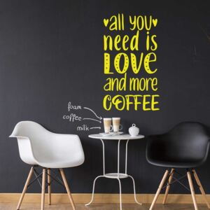 All you need is coffee - autocolant de perete Galben 50x30 cm