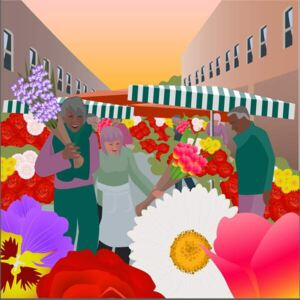 Huntley, Claire - Flower Market at Columbia Road Reproducere