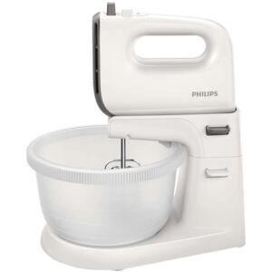 Mixer cu bol Philips Viva Collection HR3745/00, 450 W, Bol actionare automata, 5 viteze, Functie Turbo, Alb/Gri