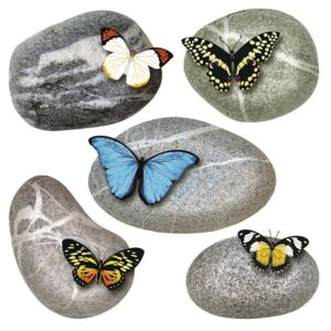 Decorațiune autocolantă Butterflies on Stones, 30 x 30 cm