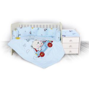 Lorelli set lenjerie pentru patut Trend - Bear and Car Blue