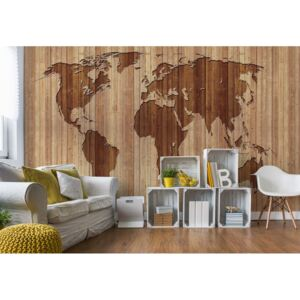 Fototapet GLIX - World Map Wood + adeziv GRATUIT Tapet nețesute - 416x254 cm