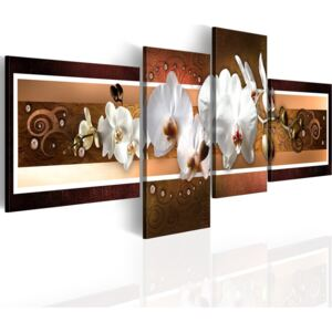 Bimago Tablou - Elegant orchids in abstraction 100x35