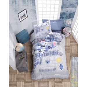 Lenjerie pat 1 persoana bumbac 100 ranforce, Cotton Box, On The Air - Blue