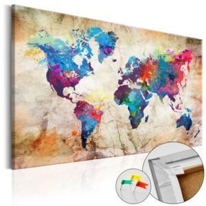 Bimago Tablou din plută - World Map: Urban Style 90x60 cm