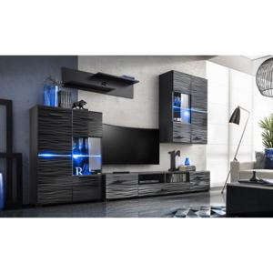 Set mobila living MADISON, MDF negru cosmic, ILUMINARE LED INCLUSA, 280x195x40 cm