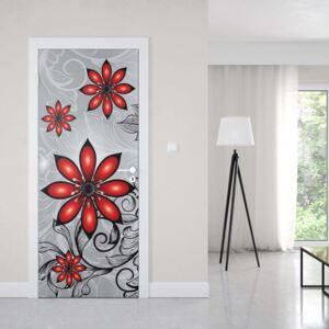 GLIX Tapet netesute pe usă - Modern Floral Design Silver And Red
