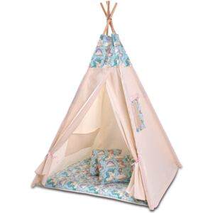 Cort copii stil indian Teepee Tent Kidizi Mint Unicorn, include covoras gros si 2 perne