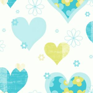 Arthouse Tapet - Happy Hearts Happy Hearts Teal/Green