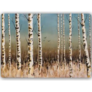 CARO Tablou metalic - Birch Forest 30x20 cm