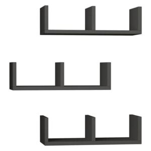 Set 3 etajere perete U-Model Anthracite, gri antracit
