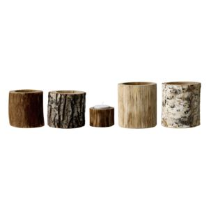 Set vase decorative votive din lemn natural Bloomingville