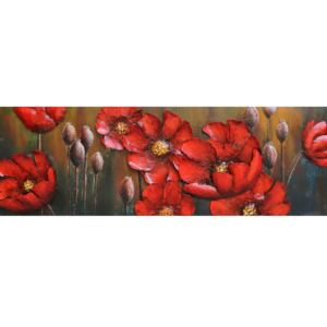 Tablou metal 3D Red Flowers 150x50 cm