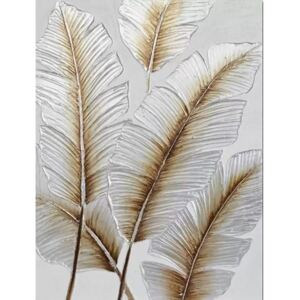 Tablou pictat manual Feathers Gold 80 x 60 cm