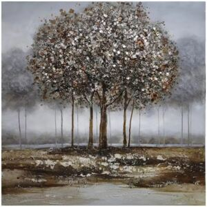 Tablou pictat manual Trees silver 100 x 100 cm