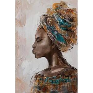 Tablou pictat manual African woman 120x80 cm