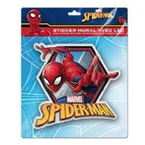 Sticker de perete cu led Spiderman SunCity, 20 x 20 cm, rosu