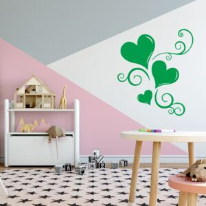 GLIX Ornament with hearts - autocolant de perete Verde deschis 50 x 60 cm