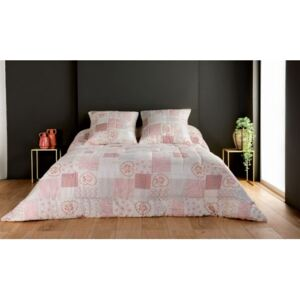 Cuvertura patchwork Louisiane alb-roz