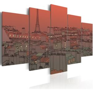 Tablou Bimago - Sunset on the background of Eiffel Tower 100x50 cm