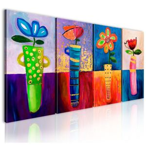 Mână pictată imagine Bimago - Rainbow flowers 120x60 cm