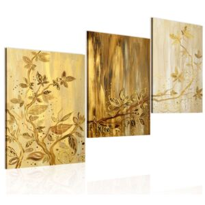 Mână pictată imagine Bimago - Golden leaves 120x60 cm