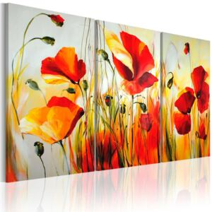 Mână pictată imagine Bimago - Red meadow 120x80 cm