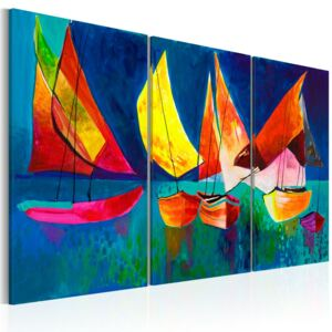 Mână pictată imagine Bimago - Colorful sailboats 120x80 cm