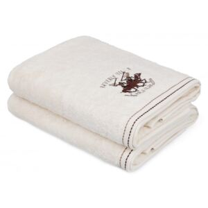 Set 2 prosoape bumbac 100%, Beverly Hills Polo Club, Crem 70x140cm, cod 201 - Cream