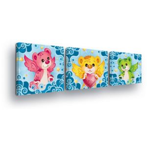 GLIX Tablou - Colorful Bears Trio 3 x 25x25 cm
