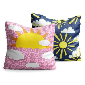 Set 2 perne pentru copii OYO Kids Sun With Clouds Multi, 40 x 40 cm