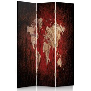 CARO Paravan - Rustic Map Of The World | tripartit | unilateral 110x150 cm