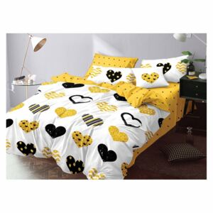 Lenjerie Evolution bumbac satinat ELV295 Black/Golden Hearts