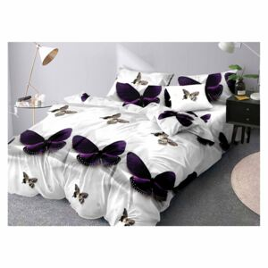 Lenjerie Evolution bumbac satinat ELV292 3D Purple Butterflies