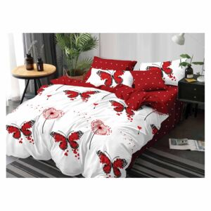 Lenjerie Evolution bumbac satinat ELV310 Red Butterflies